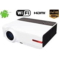 1080P Full HD 5000 Lumen Home Theater Projector WIFI With Android 4.4.4 System Built-in Wireless projector for Laptop iPad iPhone Smartphone HDMI USB TV VGA Multimedia Home Theater Cinema Projector