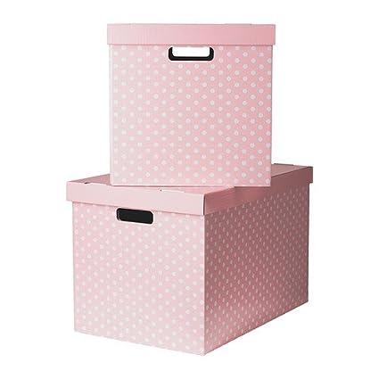 IKEA PINGLA - caja de almacenaje con tapa, rosa/ , 2 unidades