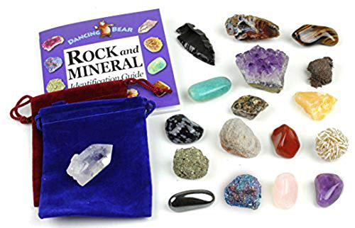 (Dancing Bear Rock and Mineral Geology Education Collection - 18 Pcs of Gem Stones w Identification Book. Box and 2 Velvet Pouches Included! Geology Gem Kit for Kids Brand)
