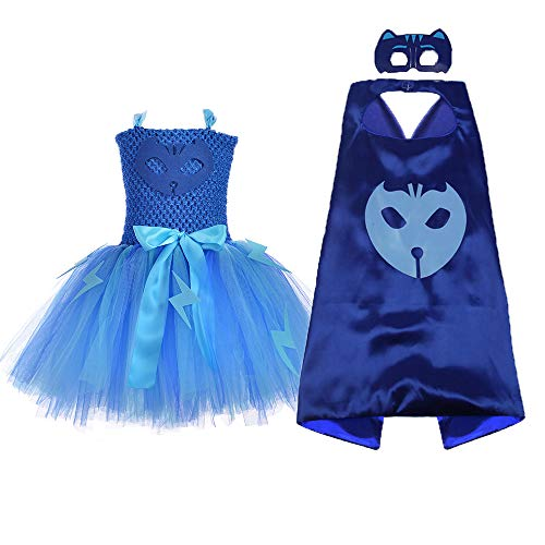 O'COCOLOUR Catboy Superhero Costume for Baby Girls Birthday Party Tutu Dress with Cape Mask (Blue, Small) -