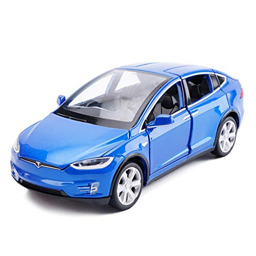 SXZHSM-Model car Model Car Tesla X Off-Road SUV 1:32 Simulation Die-Casting Alloy Toy Car Model Decoration 15x5.5x4.5CM (Color : Blue)