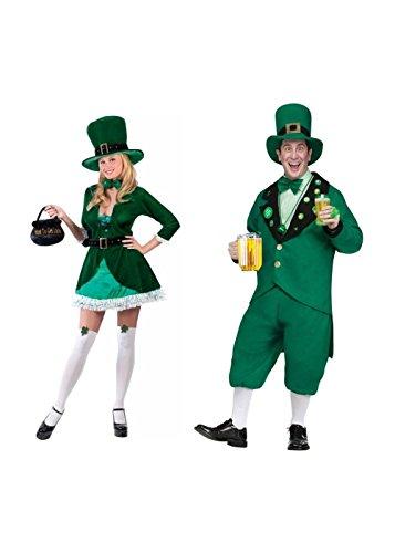 [Leprechaun Men and Women Couples Costume Set] (Leprechaun Costume Female)