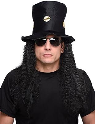Adult Mens Heavy Rock Rocker Headbanger Slash Top Hat Wig Music Accessory