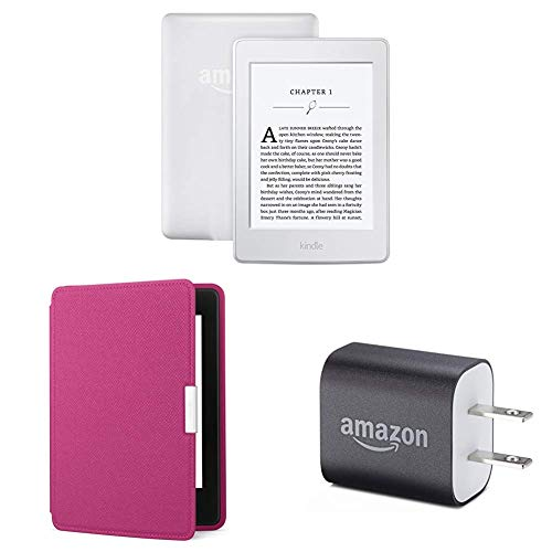 "Kindle Paperwhite Essentials Bundle including Kindle Paperwhite 6"" E-Reader (Previous Generation - 7th), White , Amazon Leather Cover - Fuchsia, and Power Adapter"