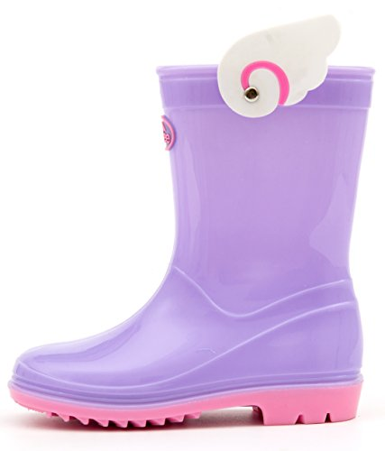 Outee Toddler Girls Kids Rain Boots Waterproof Shoes Lightweight Purple Angel Wings Solid Cute Classic Comfortable (Size -