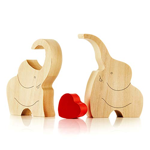 IK Style Symbol of Love Longevity and Unity Loving Wooden Love Elephant Couple with Red Hearth - Great Sculpture with Message of Love (1)