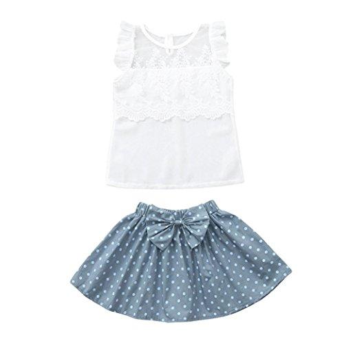 MITIY 2Pcs Infant Baby Girls Kids Lace Tops Vest+Dot Skirt Outfits Set Clothes (White, 24M) ()