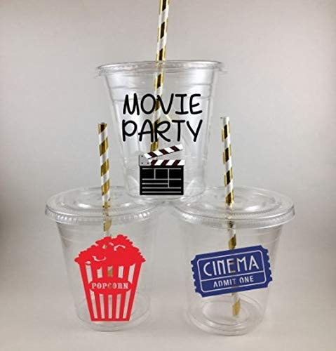 Movie Party Cups Set of 12 With Lids Straws