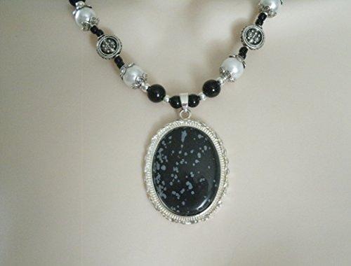 Snowflake Obsidian Necklace, handmade jewelry gothic victorian edwardian art nouveau art deco (Snow Gothic)