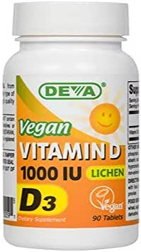 Deva Vegan Vitamins D3 1000 Iu, White, 90 Count