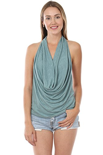 Made In USA Cowl Neck Open Back Drape Halter Top