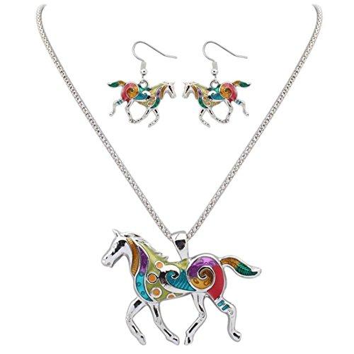 - Andyle Necklace Earring Set, Elegant Girl's Enamel Festoon Silver Horse Chain Necklace