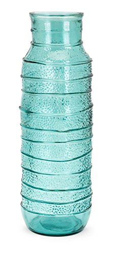 CC Home Furnishings 18'' Textured Teal Blue Large Hand Crafted Recycled Glass Vase by CC Home Furnishings