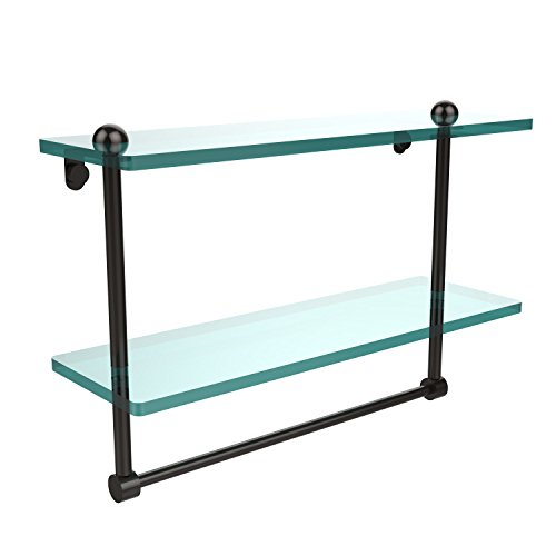 TB-ORB 16-Inch Double Glass Shelf with Towel Bar ()