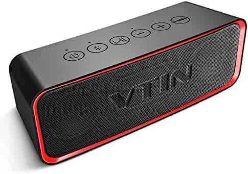 VTIN Portable Bluetooth Speaker with IPX6 Waterproof, Support Deep Bass & Rich Mids/Highs Pitch Switching. Outdoor Portable Speaker with HiFi-Tec, Aux Cable. Waterproof Speaker for Beach/Party/Dance