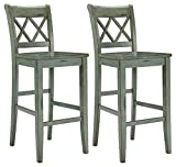 At Home Bar Stools Ashley Furniture Signature Design - Mestler Bar Stool - Pub Height - Vintage Casual Style - Set of 2 - Blue / Green