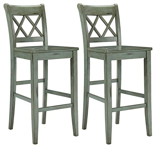 Ashley Furniture Signature Design - Mestler Bar Stool - Pub Height - Vintage Casual Style - Set of 2 - Blue / Green