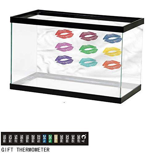 bybyhome Fish Tank Backdrop Kiss,Lipstick Glamor Beauty Theme,Aquarium Background,36