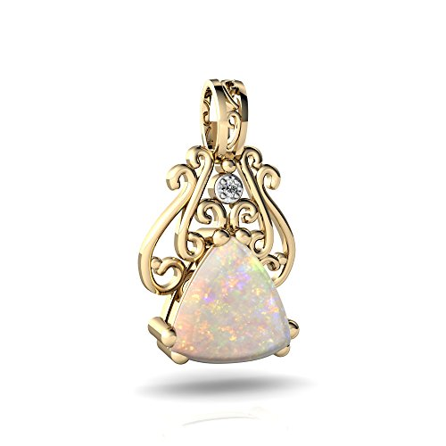 14kt Gold Opal and Diamond 8mm Trillion Antique Style Pendant