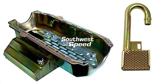 Circle Track Oil Pan (NEW SOUTHWEST SPEED RACING SMALL BLOCK CHEVY OIL PAN & SBC PICKUP, 7 QUART 7
