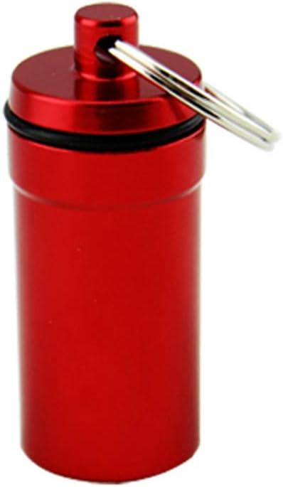 rongweiwang P/íldora Impermeable Caso Cuadro Titular de contenedores p/íldora Llavero Llavero de Aluminio Resistente al Agua de la Botella de aleaci/ón de Medicina