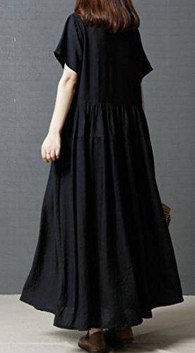 Crewneck Women's Cromoncent Summer Swing Plus Color Size Fashion Long Black Basic Dress Pure S1qxOw10