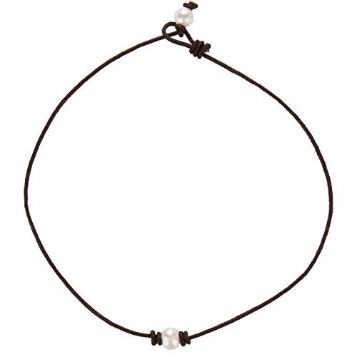 Barch Single Pearl Choker Necklace with Brown Leather Cord for Women Handmade Choker Jewelry Gift (14