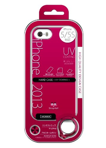 iPhone5s / 5 MOBIER Mobaia HARD CASE gloss [pink] All nine colors iPhone5s / 5 Hard Case protective film / ring strap / aluminum home button comes with MB-IP5SHGPK (japan import) (Gloss Aluminum Ring)