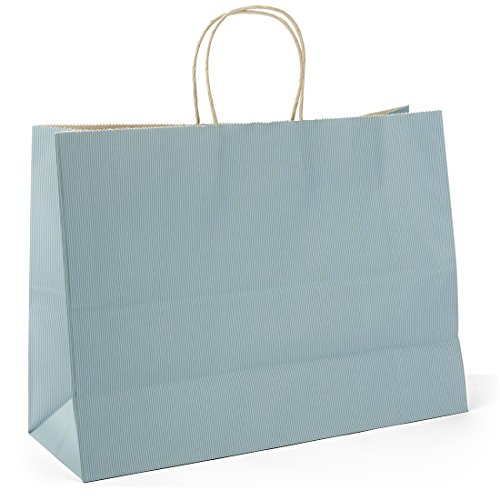 Halulu 50 Pcs 16x6x12inches Kraft Paper Bags,Handled, Gift, Party, Merchandise, Carry, Retail,Shopping Bags (Wisteria)