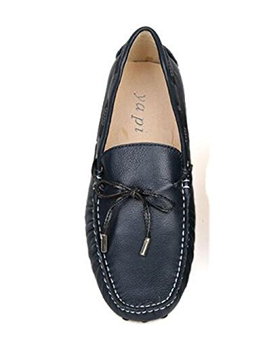 Happyshop (tm) Vera Cravatta In Pelle Di Mucca Casual Mocassino Slip On Mens Scarpe Da Auto Guida Mocassino Blu Scuro