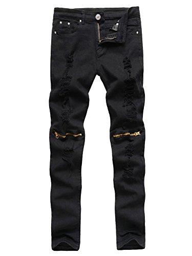 Vaqueros Rodillas Slim Rasgado Pantalones las Negro Hombres Fit en Cremallera qY6Cd