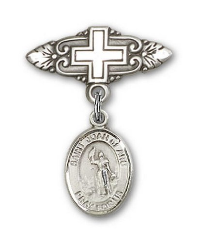 Icecarats Créatrice De Bijoux En Argent Sterling St. Joan De La Broche De Badge Charme Arc Avec La Croix 1 X 3/4