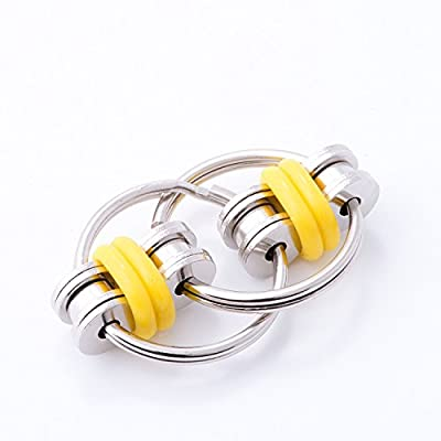 Flippy Stainless Steel Bike Chain Fidget Toys Relieve Your Stress, Anxiety, & Boredom all at your Finger Tips! Also Helps ADD, ADHD, & Autism (Yellow)