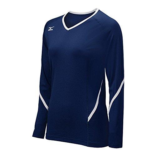 Volleyball Jersey Shirt - Mizuno Women's Techno Generation Long Sleeve Jersey, Navy/White, Small
