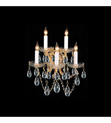 - Bohemian Crystal 5 Light Candle Wall Sconce Finish: Gold, Crystal Type: Swarovski Spectra