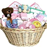 Deluxe Baby Gift Basket - PINK for GIRLS - Shower or Christmas Holiday Gift Idea for Newborns