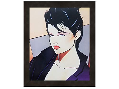 ImpactInt Vintage 80s Patrick Nagel Era Pop Art Mini Poster Artwork of Lady Showing Cleavage Decor Art Print Mini Poster (8x10 Inch)(Framed in Black)