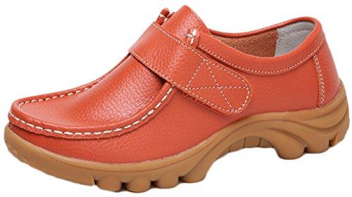 NEWZCERS Frauen weiche treibende Schuhe Rindsleder Leder Klettverschlüsse Loafers Bootsschuhe Orange