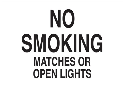 Brady 47172 Premium Fiberglass No Smoking Sign, 7' X 10', Legend 'No Smoking Matches Or Open Lights'
