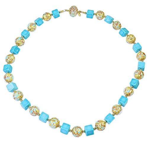 Aleksander Sternen Collier pour femme en verre de Murano Fortuna, avec pierres en quartz aventurine, feuille d'or, fermeture magnétique