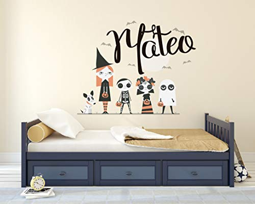 Personalized Name Wall Decal - Colorful Halloween Character Wall Decal Vinyl Sticker Nursery for Home Bedroom -