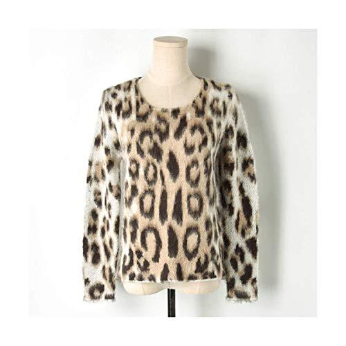 Lavorato Casual Maglia Mon5f Pullover E Size Marrone Maglioni A L Sweter Manica Home Crop Beige Inverno color Lunga Maglione Autunno Donna Leopard Beige Pq6aPw