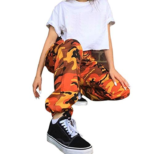 CSSD Women Sports Camouflage Cargo Outdoor Pants Casual Camo Trousers Jeans Cotton Spandex Materials (Orange, S)
