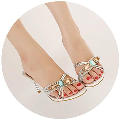 Absätzen Sandaletten Open Abschlussball Silber Hausschuhe mit für Womens Toe Sommer hohen Abendkleid WqYxTn7gwO