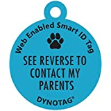 "Dynotag Web/GPS Enabled QR Code Smart Deluxe Coated Steel Pet Tag. (Blue: ""..."