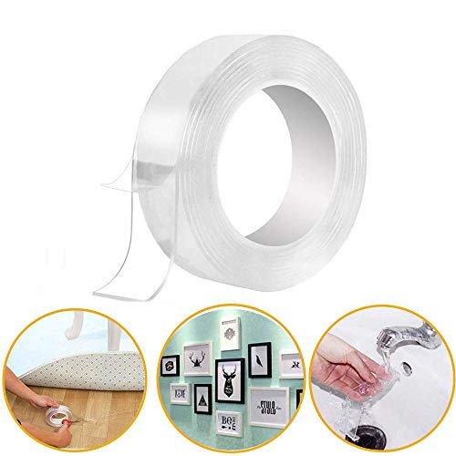 Eselltotal Washable Adhesive Tape NanoTape .The Reusable Adhesive Silicone Tape,Free to Remove, Reusable Traceless,Stick to Glass, Metal, Kitchen Cabinets or Tile Nano Tape
