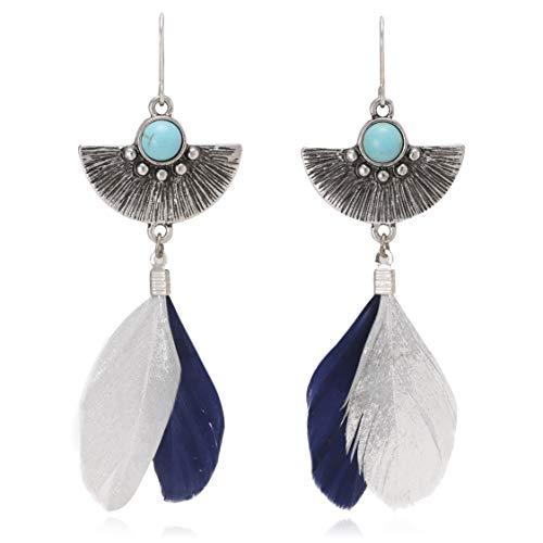 Boho Semicircle Metal with Feather Tassel Long Dangle Drop Earrings