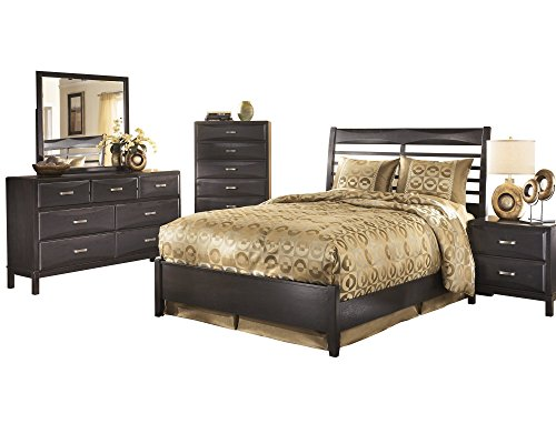 Ashley Kira 5PC Bedroom Set Queen Panel Bed Dresser Mirror One Nightstand Chest in Almost Black