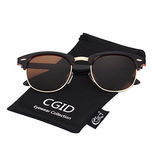 CGID Clubmaster Premium Classic Inspired Half Frame Horn Semi-Rimless Rimmed Sunglasses with Metal - Brown Clubmaster