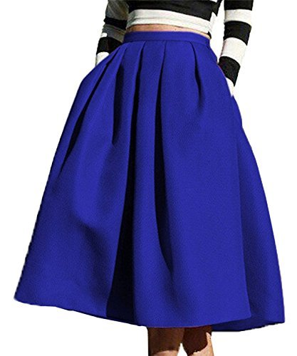 FACE N FACE Women's High Waisted A line Street Skirt Skater Pleated Full Midi Skirt Large Blue]()